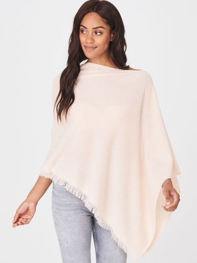 Repeat cashmere poncho, powder