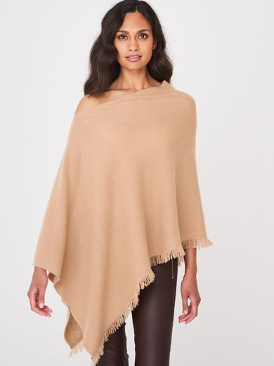 Repeat cashmere poncho, camel