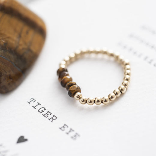 Beauty Tiger Eye Gold Ring, viidellä kivellä