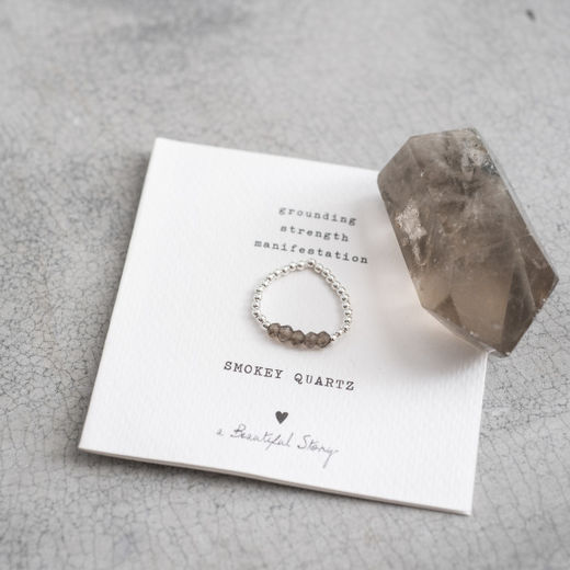 Beauty Smokey Quartz Silver Ring, viidellä kivellä