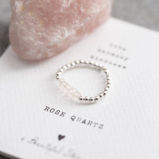 Beauty Rose Quartz Silver Ring, viidellä kivellä